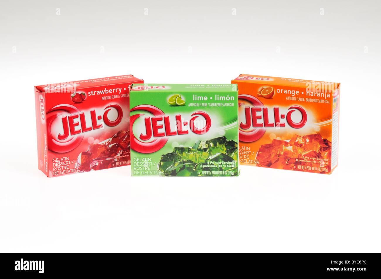 Boxes of powdered Jell-o gelatin mix on white background cutout - Stock Image