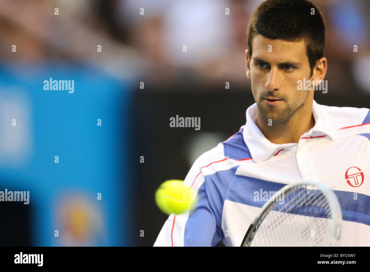 Novak Djokovic playing Andy Murray in the Mens Singles Final of the Australian Open Tennis in Melbourne, January - Stock Image