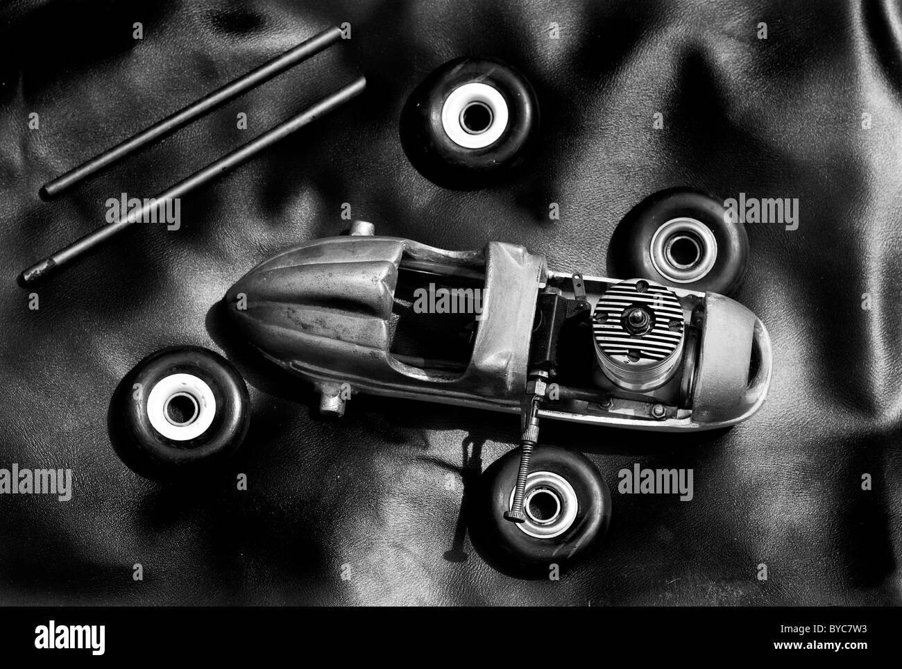Old metal disassembled model car toy - Stock Image