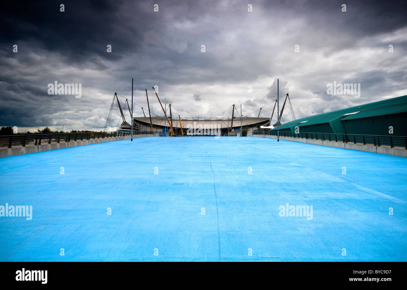 Manchester City's Etihad football stadium in England viewed from Joe Mercer Way - Stock Image
