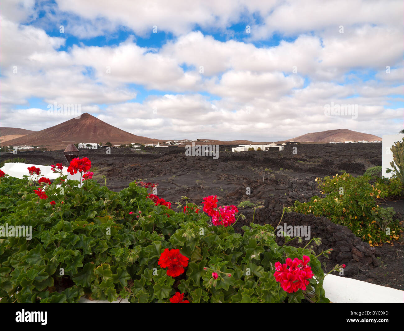 View over the lava fields from the garden at the Cesar Manrique Foundation Lanzarote Canary Islands - Stock Image