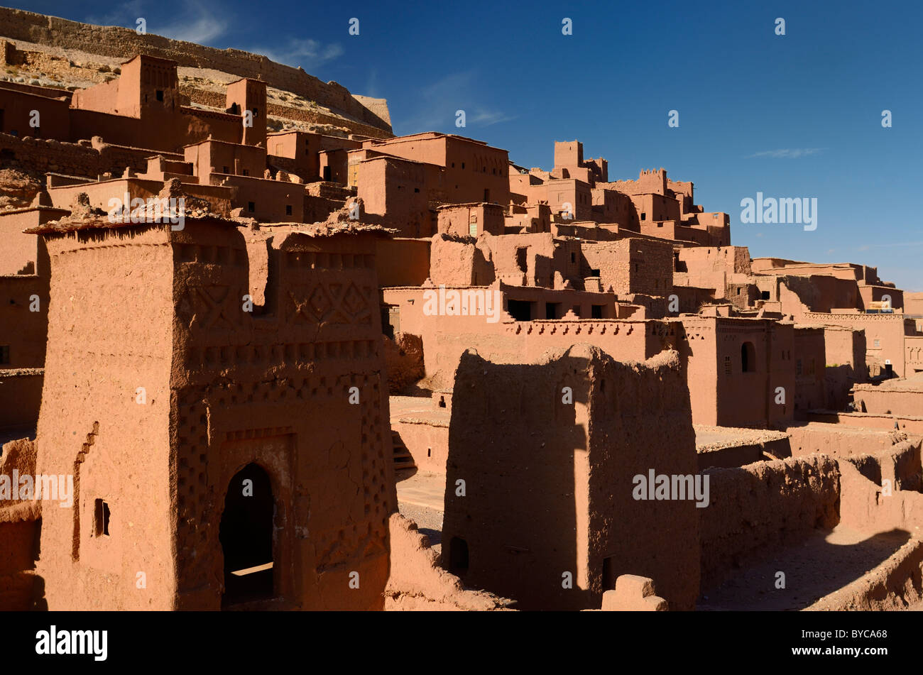 Ochre buildings at the historic earthen ksar of ancient city fortress of Ait Benhaddou near Ouarzazate Morocco - Stock Image