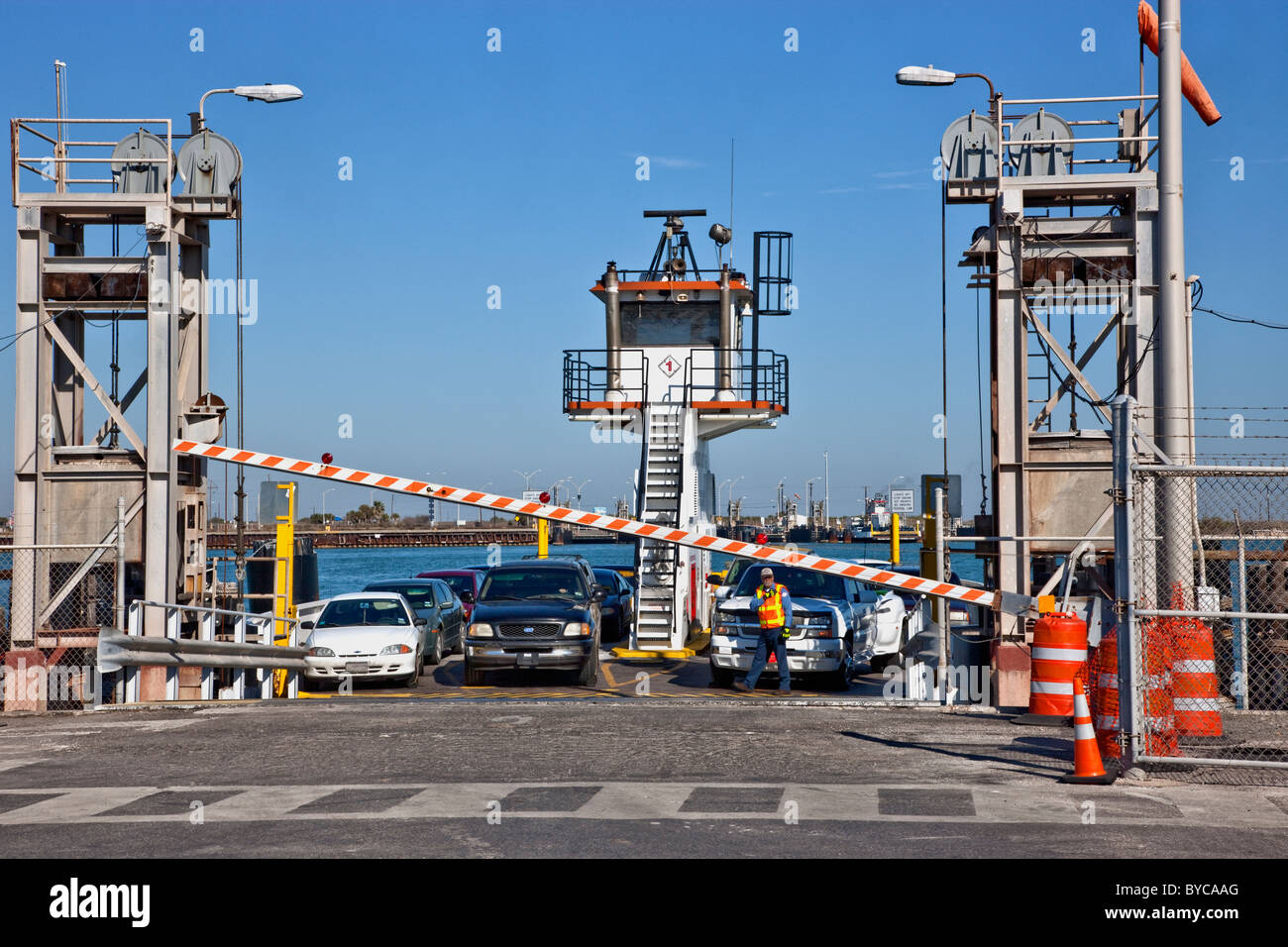 Ferry, vehicles preparing to exit. - Stock Image