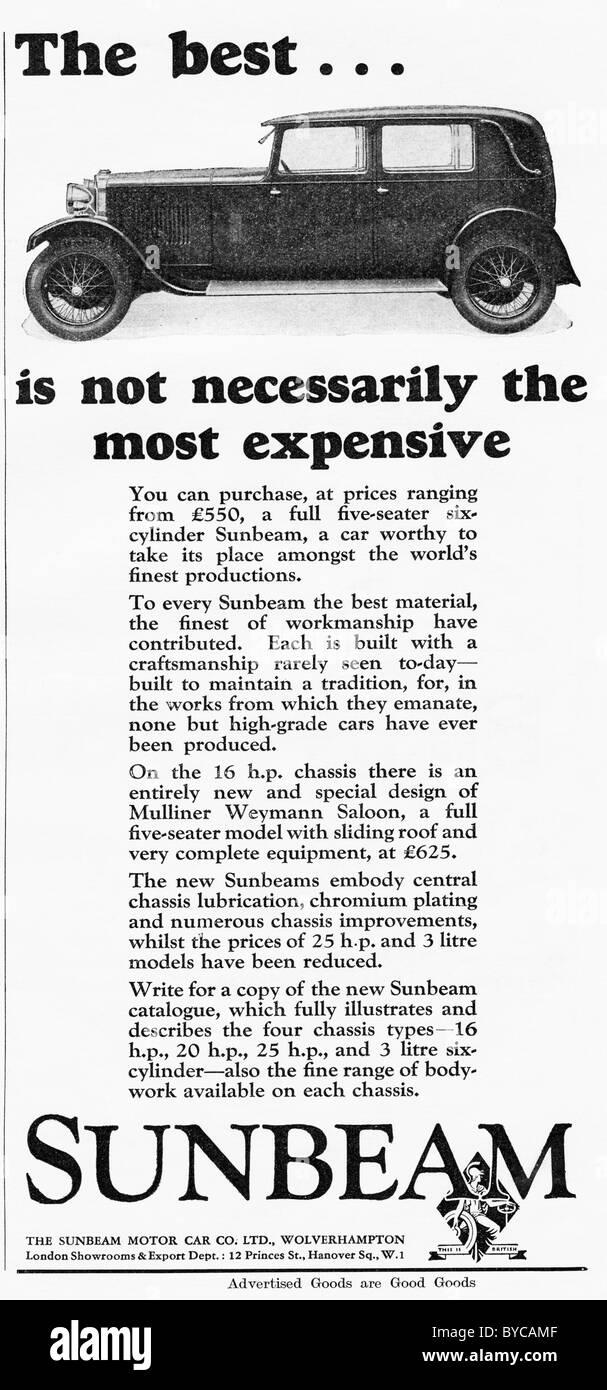 Original 1920s advertisement for the SUNBEAM Motor Car Company of Wolverhampton Stock Photo