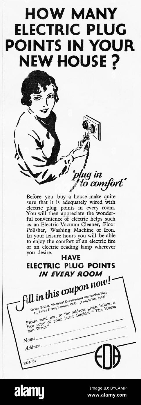 1920s advertisement in women's magazine for electric plug points in every room - Stock Image