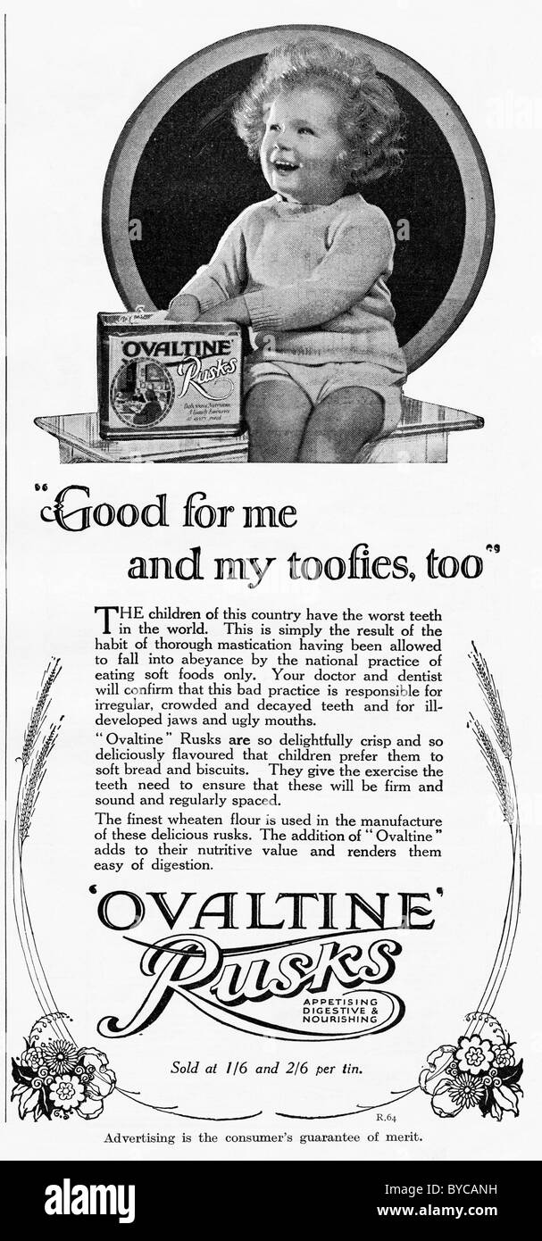 Original 1920s advertisement in women's magazine for infants OVALTINE RUSKS - Stock Image