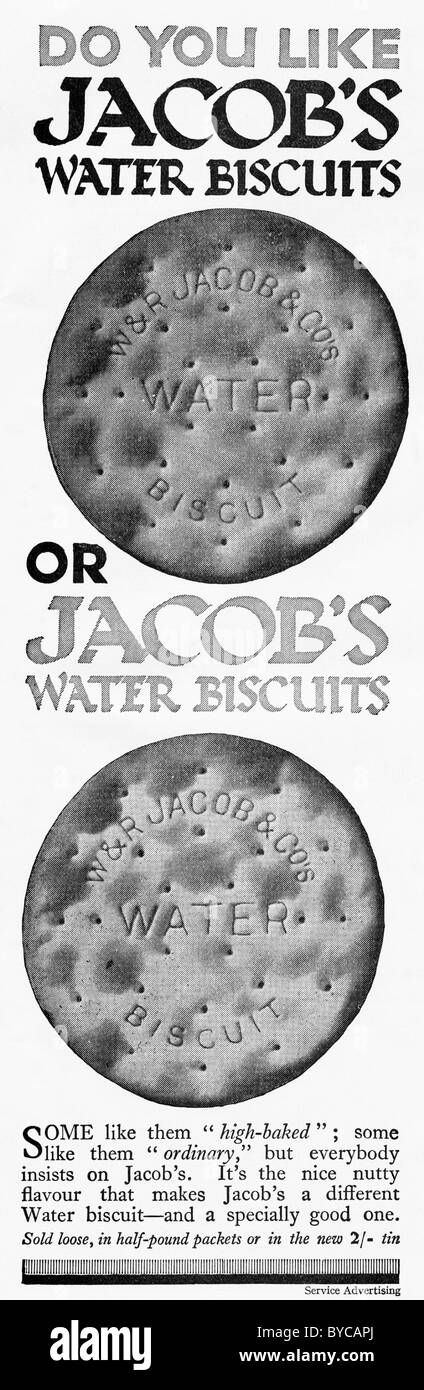 Original 1920s advertisement in women's magazine for JACOB'S WATER BISCUITS - Stock Image
