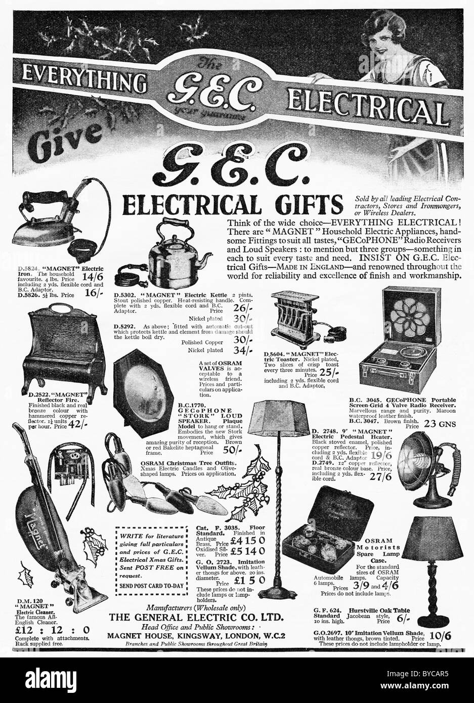 Original 1920s full page of advertisements in women's magazine for G.E.C. electrical gifts for Christmas - Stock Image