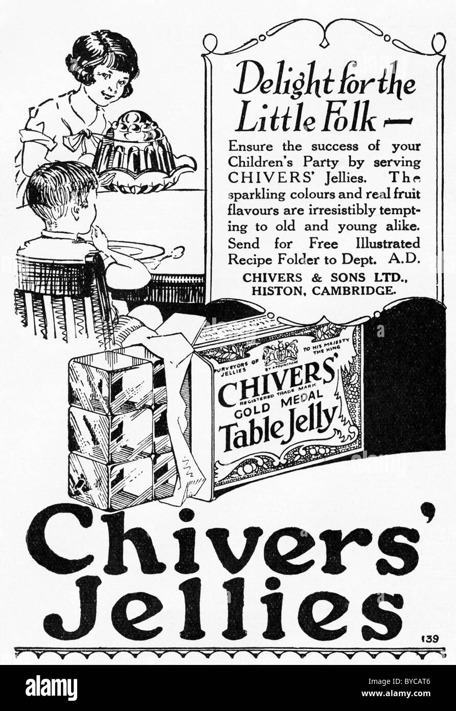 Original 1920s advertisement in women's magazine for Chivers Jellies - Stock Image