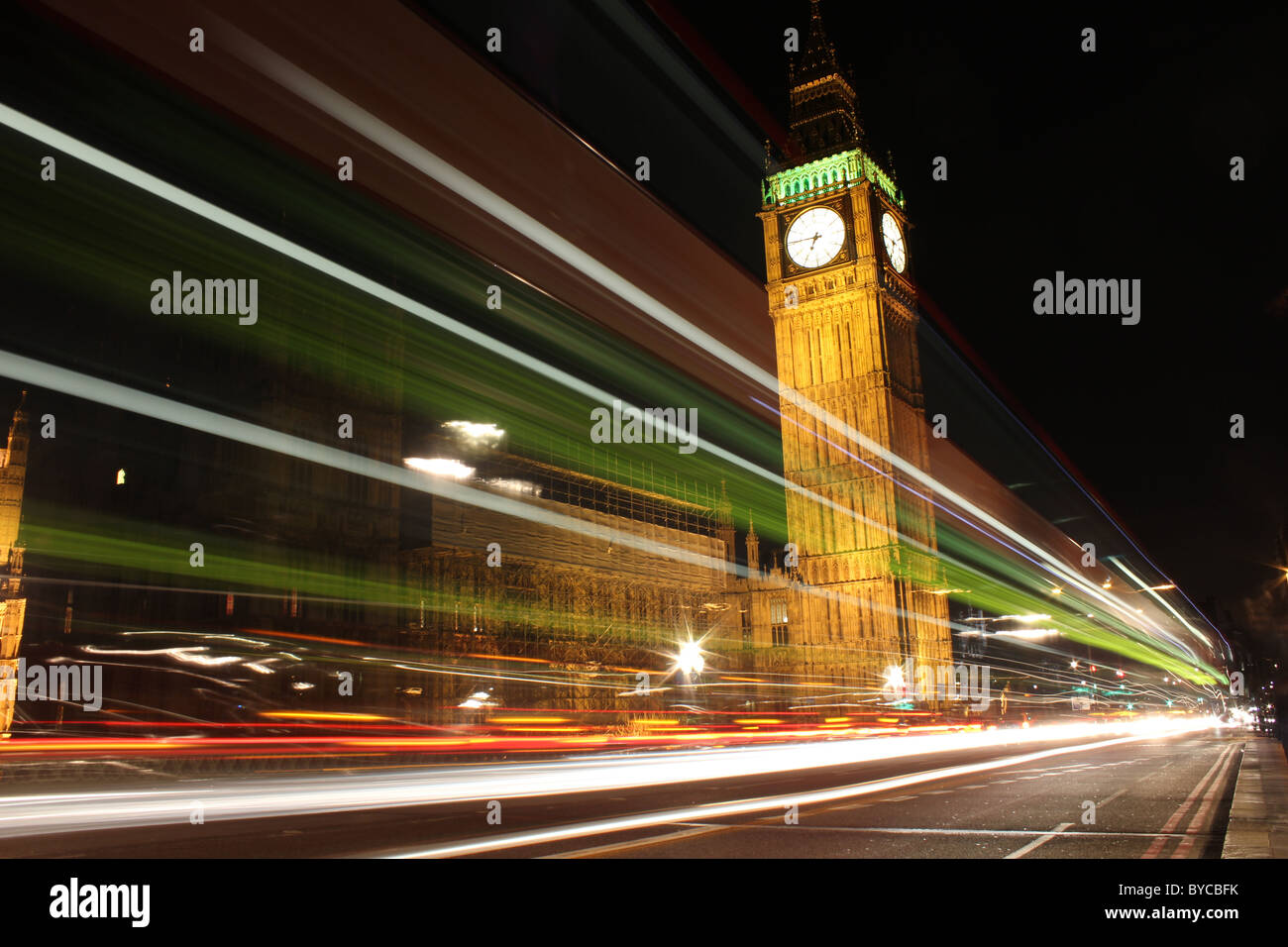 light trail in front of big ben, London England, UK - Stock Image