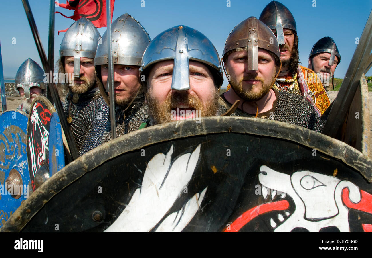Viking warrior reenactment on Lindisfarne where the 'real' Vikings famously raided in AD 793 - Stock Image