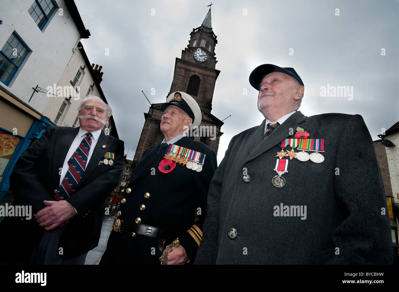 Second World War veterans from the RAF, RN and Army - Stock Image