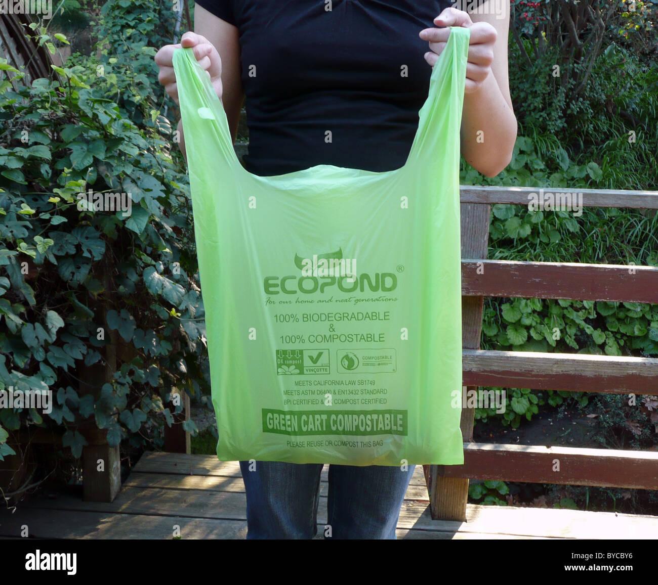 Compostable Green Bag Stock Photos & Compostable Green Bag