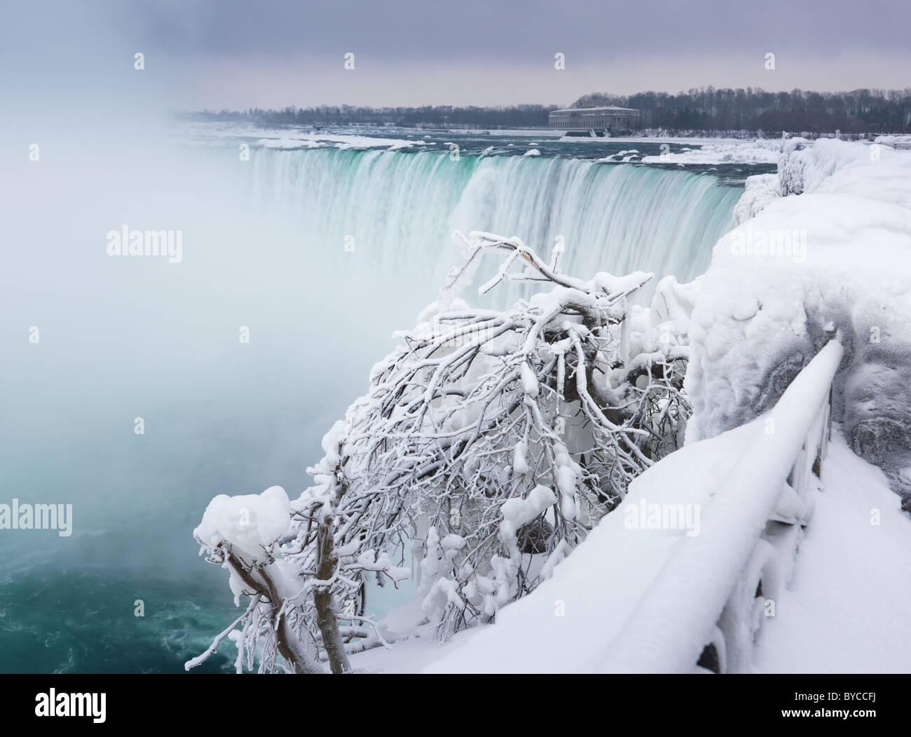 Niagara Falls Horseshoe waterfall wintertime scenic. Ontario, Canada. - Stock Image
