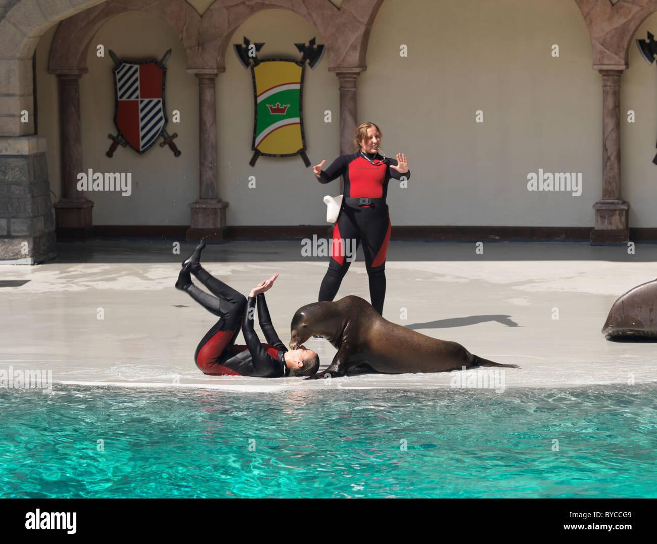 Sea lion kissing a woman trainer at Marineland, Niagara Falls, Ontario, Canada 2009. - Stock Image