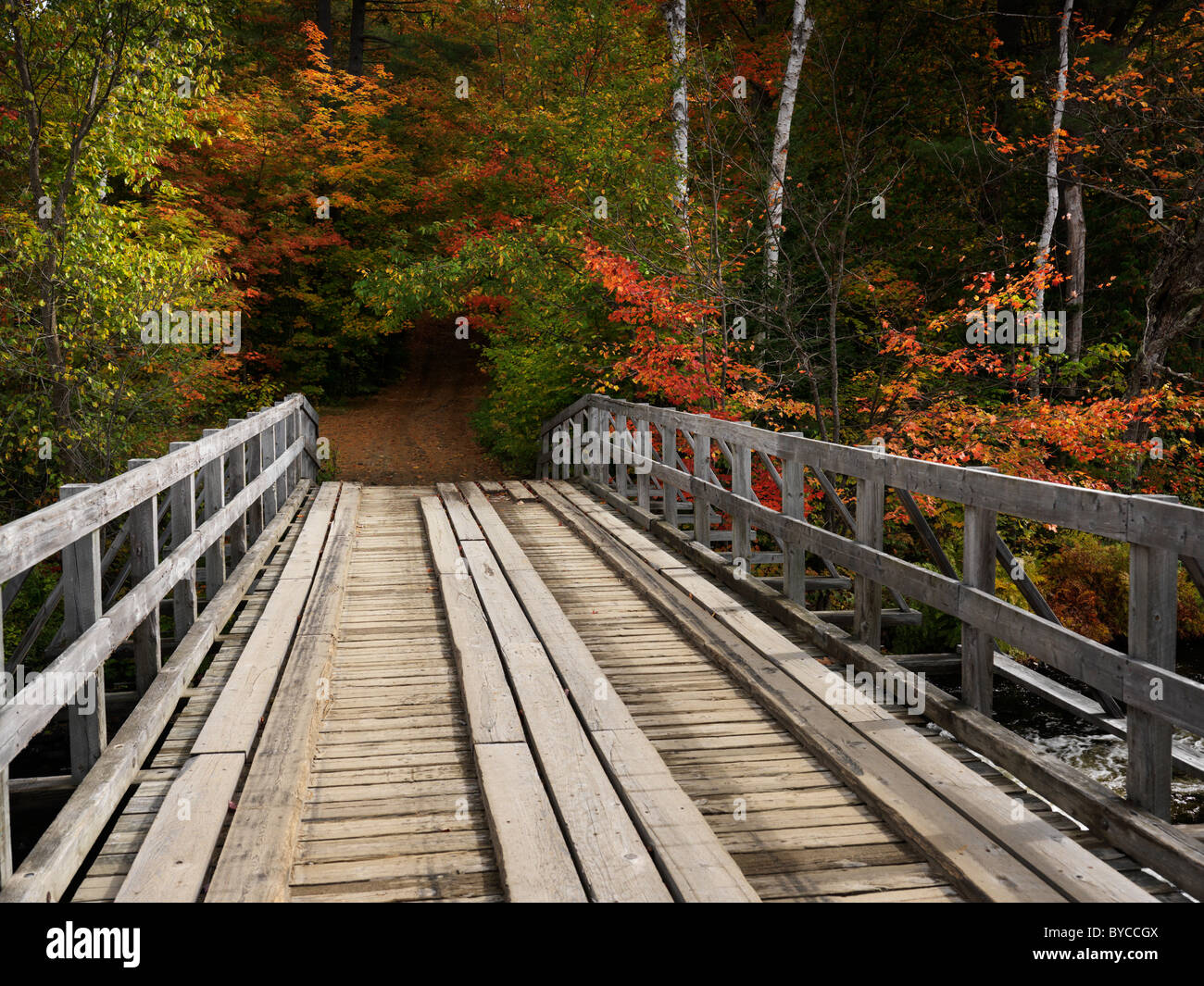Wooden bridge over a river. Countryside fall nature scenery. Oxtongue river, Algonquin, Muskoka, Ontario, Canada. - Stock Image