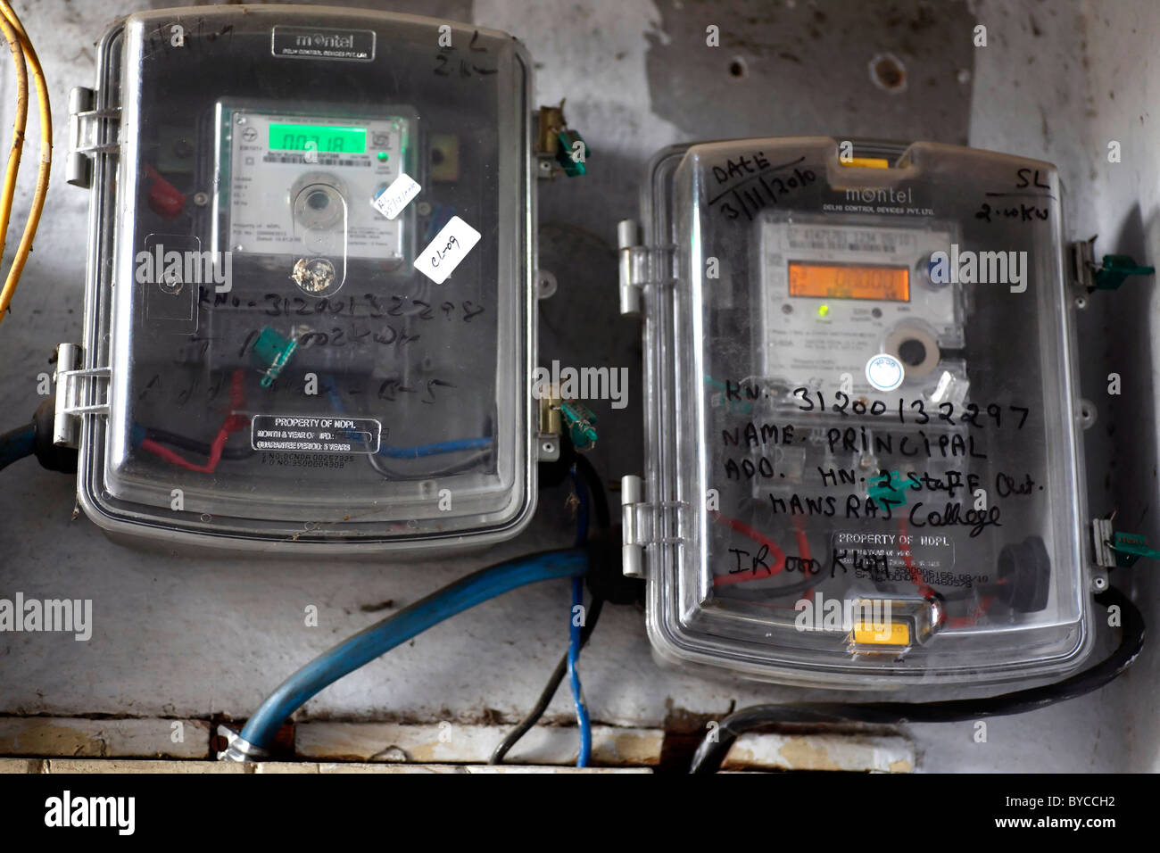 Electric Meter 'Electricity Meter' Machine Old 'Electricity consumption' Civic Supply Electric Supply - Stock Image