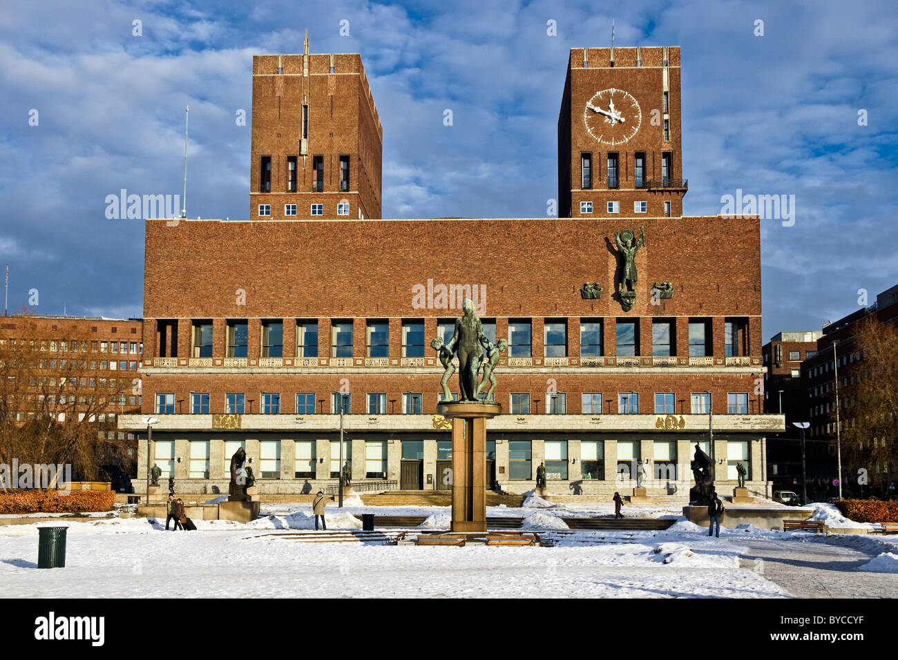 Winter view of Oslo City Hall in Oslo Norway designed by architect Arnstein Arneberg Stock Photo