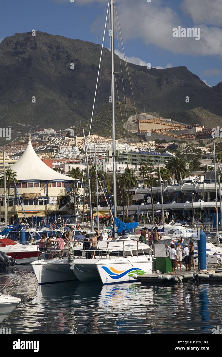 Catamaran in Puerto Colon going on whale watching tour, Costa Adeje, Playa de las Americas, Tenerife, Spain - Stock Image