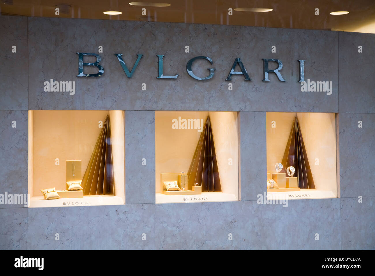 Jeweller / jewellers shop / store in Geneva selling Swiss made Bulgari / BVULGARI wrist watches & jewellery. Geneve, Stock Photo