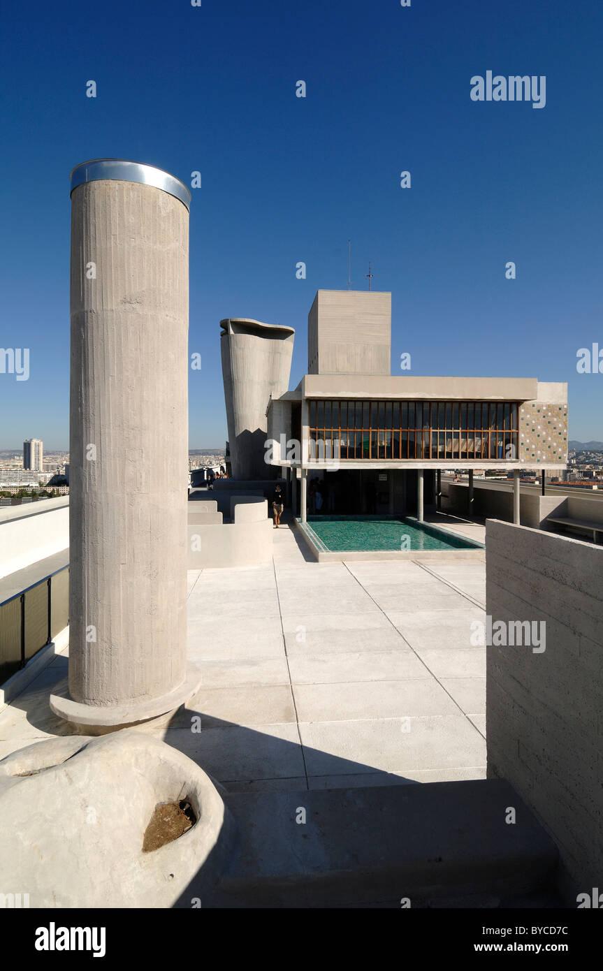 Roof Terrace of the Cité Radieuse or Unité d'Habitation Apartment Building by Le Corbusier, Marseille - Stock Image
