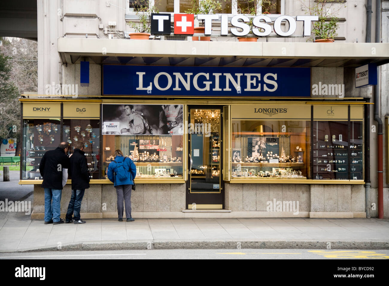 Jeweller / jewellers shop / store in Geneva selling Swiss made Tissot and Longines wrist watches. Geneve. Switzerland. - Stock Image
