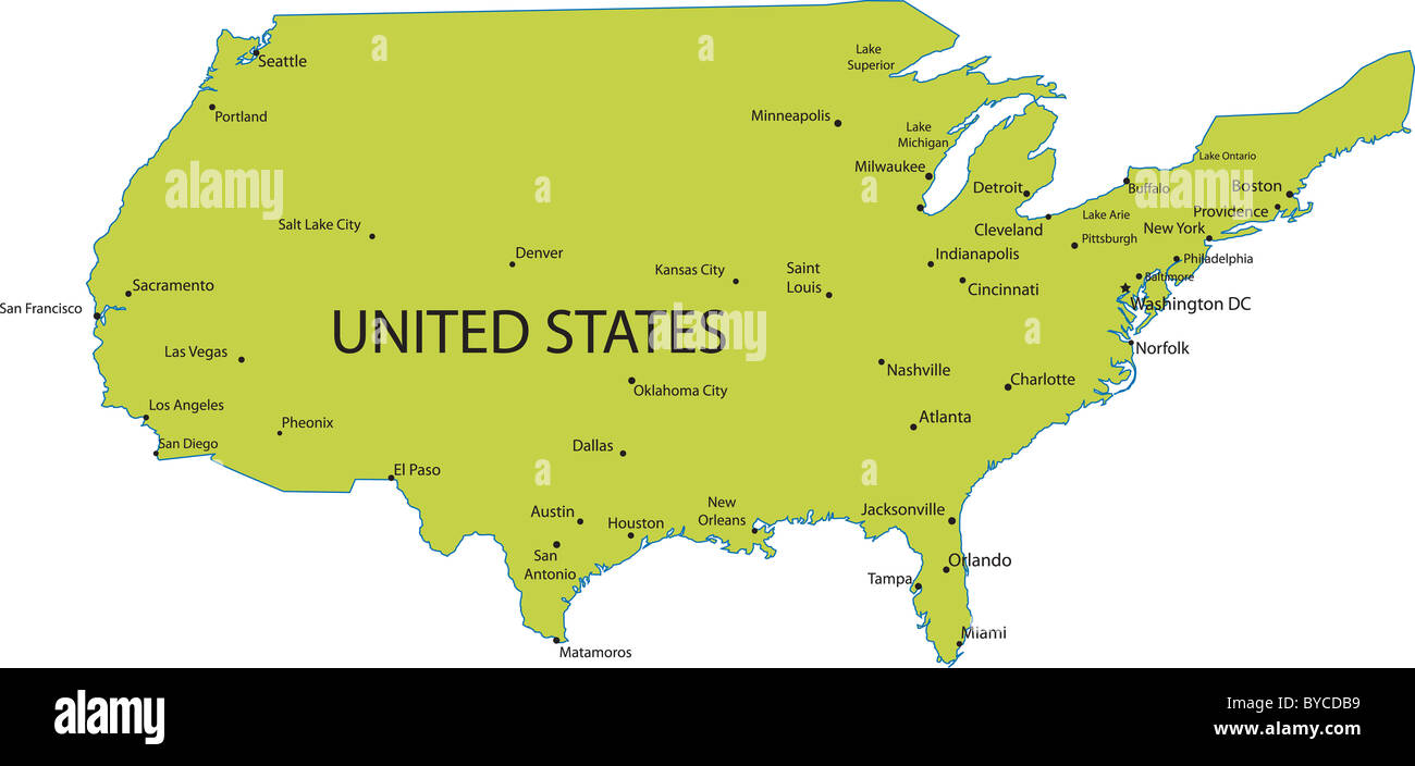 Picture of: Map Of United States Of America With Major Cities Vector Stock Photo Alamy