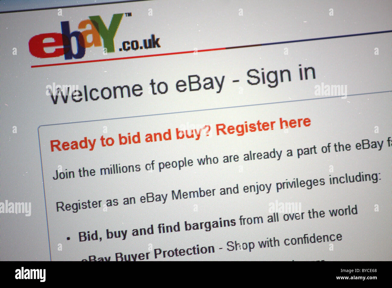 The Ebay Registration And Sign Up Web Page For Their Internet Auction Stock Photo Alamy