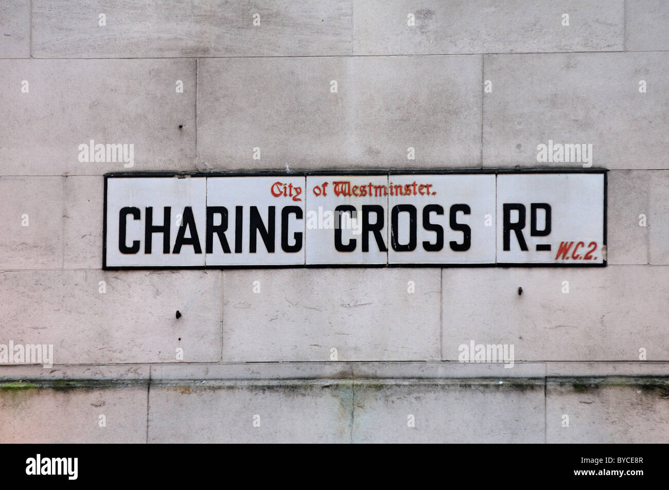 Charing Cross Rd Street Sign, London, England, UK - Stock Image