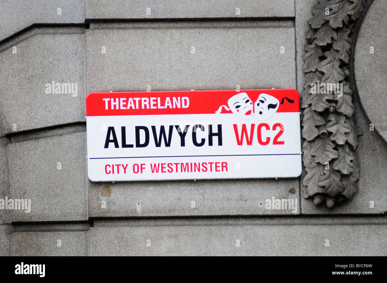 Aldwych Theatreland Street Sign, Aldwych, London, England, UK - Stock Image