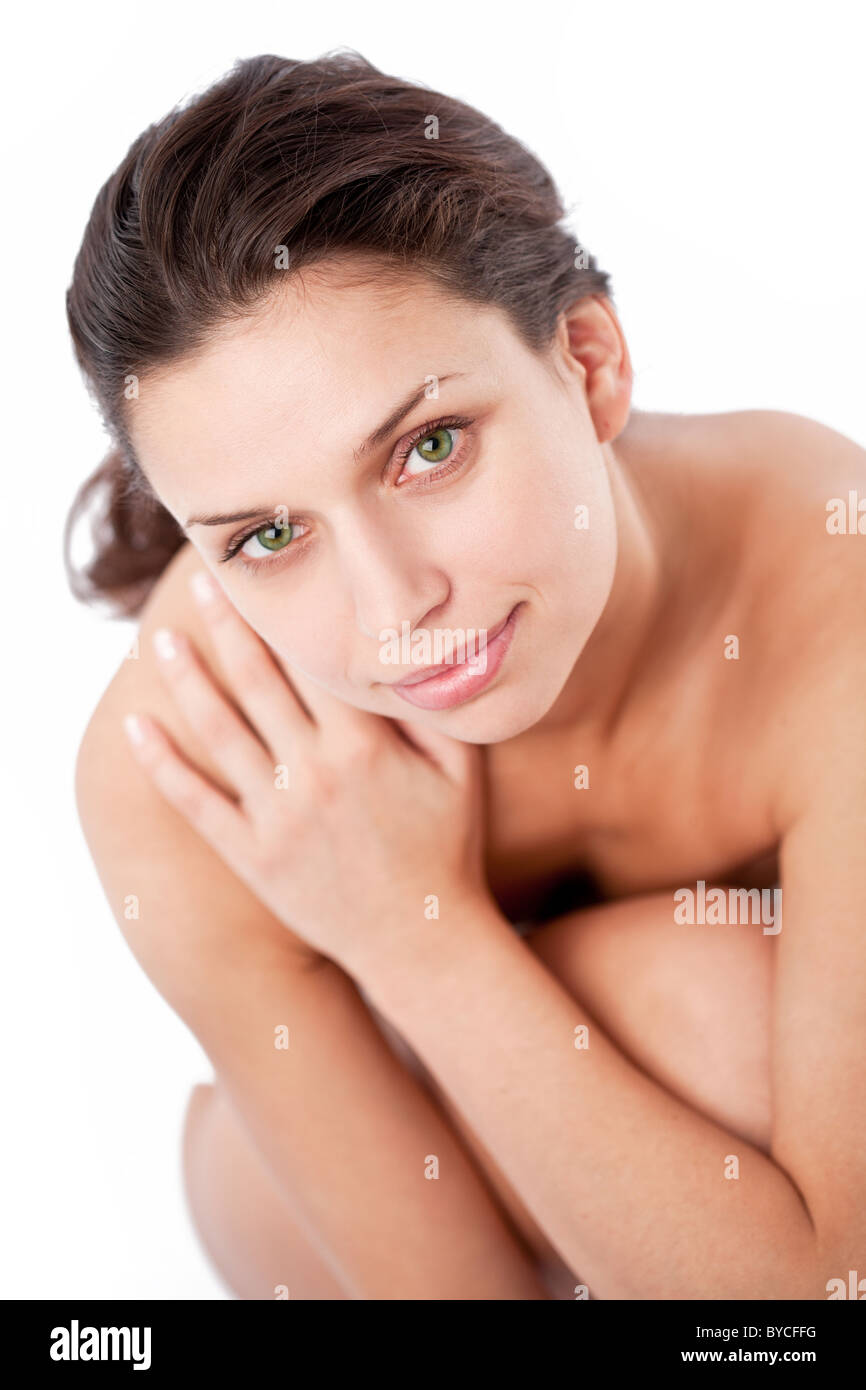Happy young woman (after spa). - Stock Image