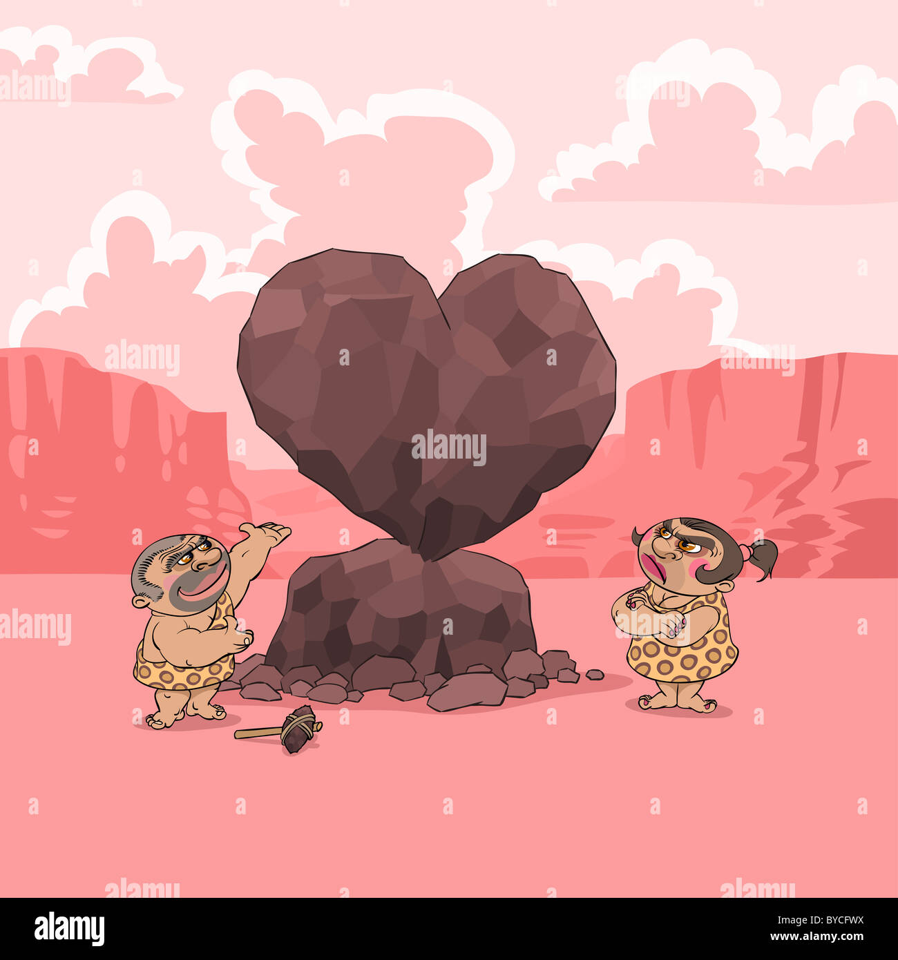 At Valentine S Day A Man Of Stone Age Presents His Girlfriend A Big