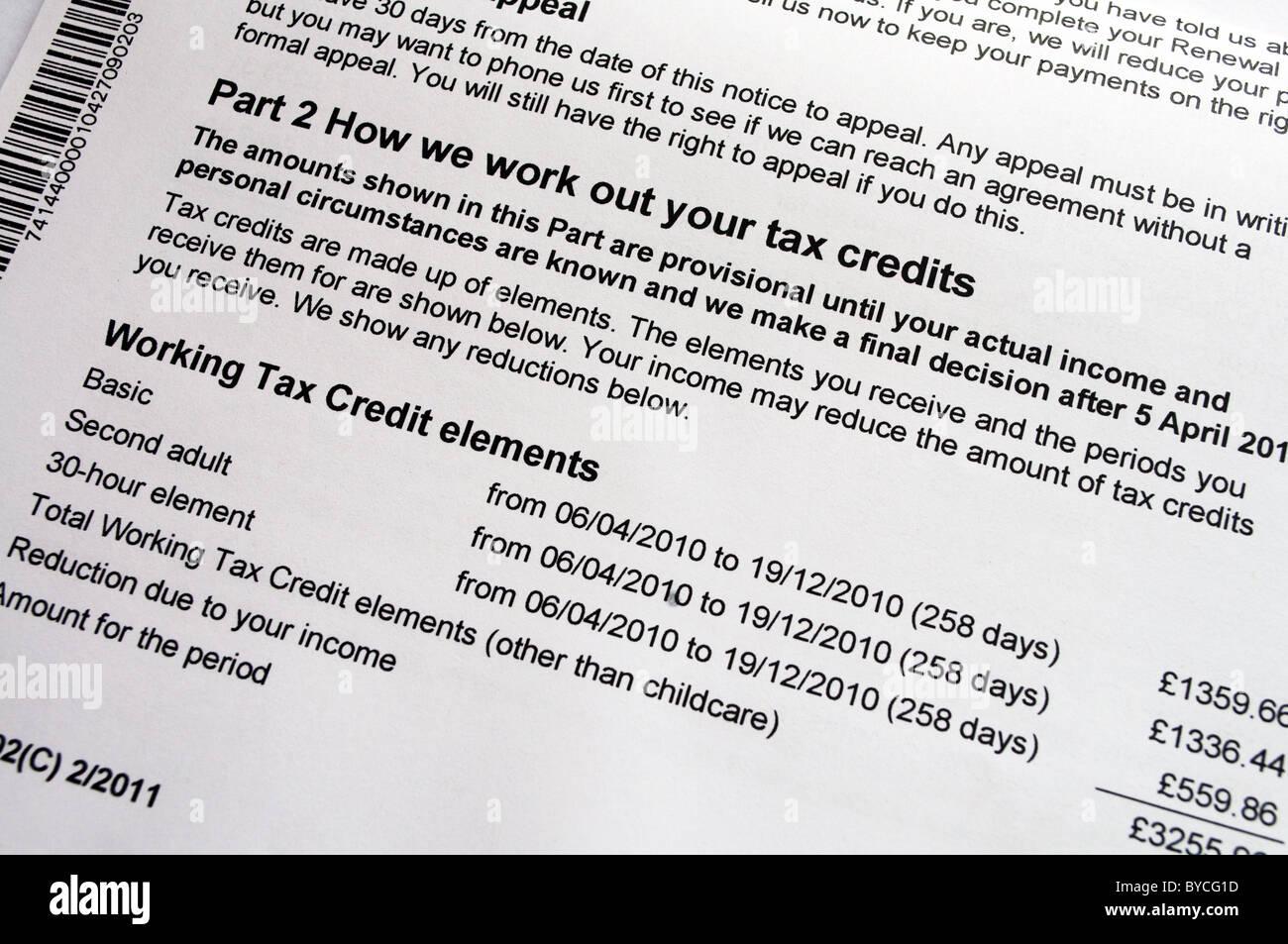 A tax credits award notification form - Stock Image