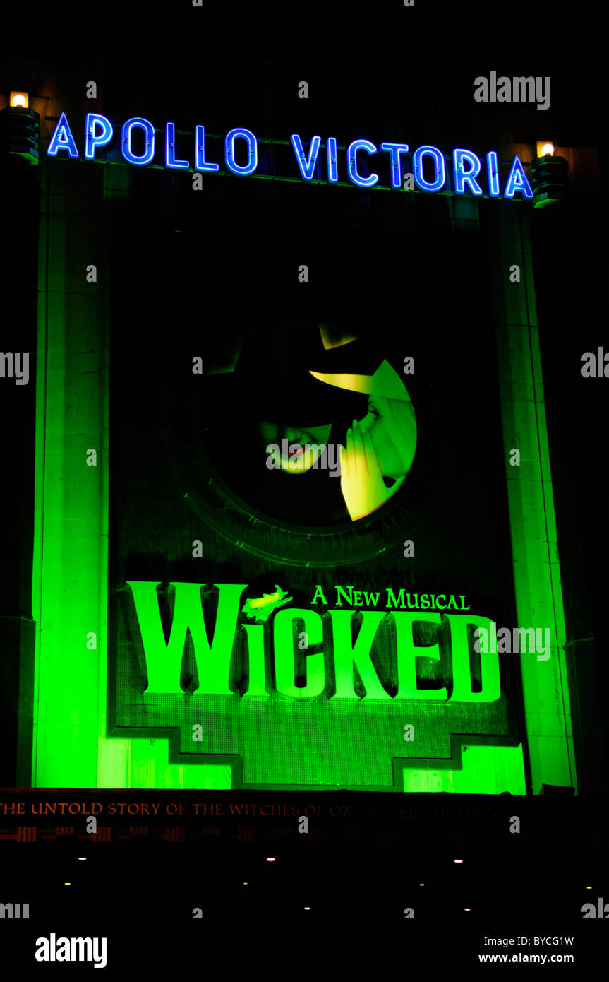 Wicked Musical Billboard at The Apollo Victoria Theatre, London, England, UK - Stock Image