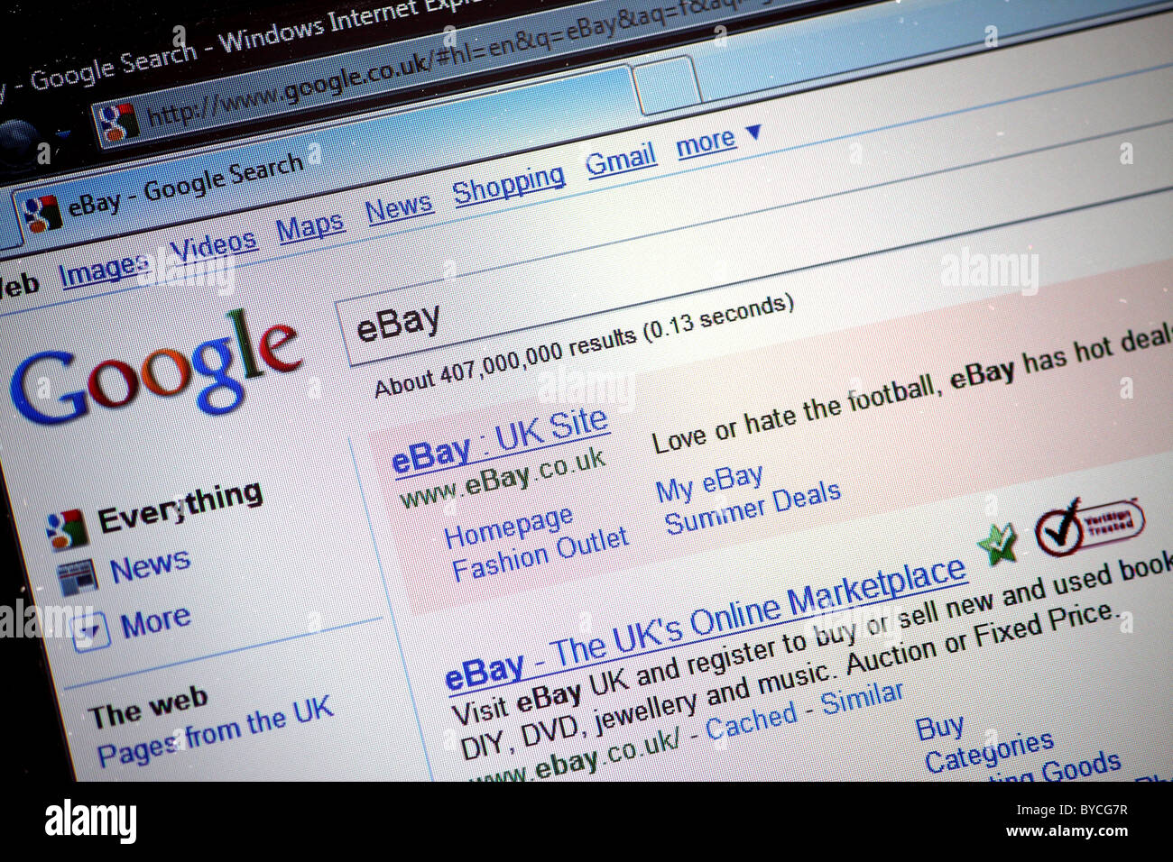 Googles Search Engine Webpage Searching For Ebay Uk On The Internet Stock Photo Alamy