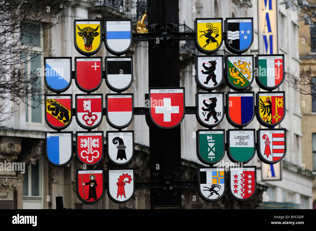 Swiss Court Cantonment Emblems, Leicester Square, London, England, Uk - Stock Image