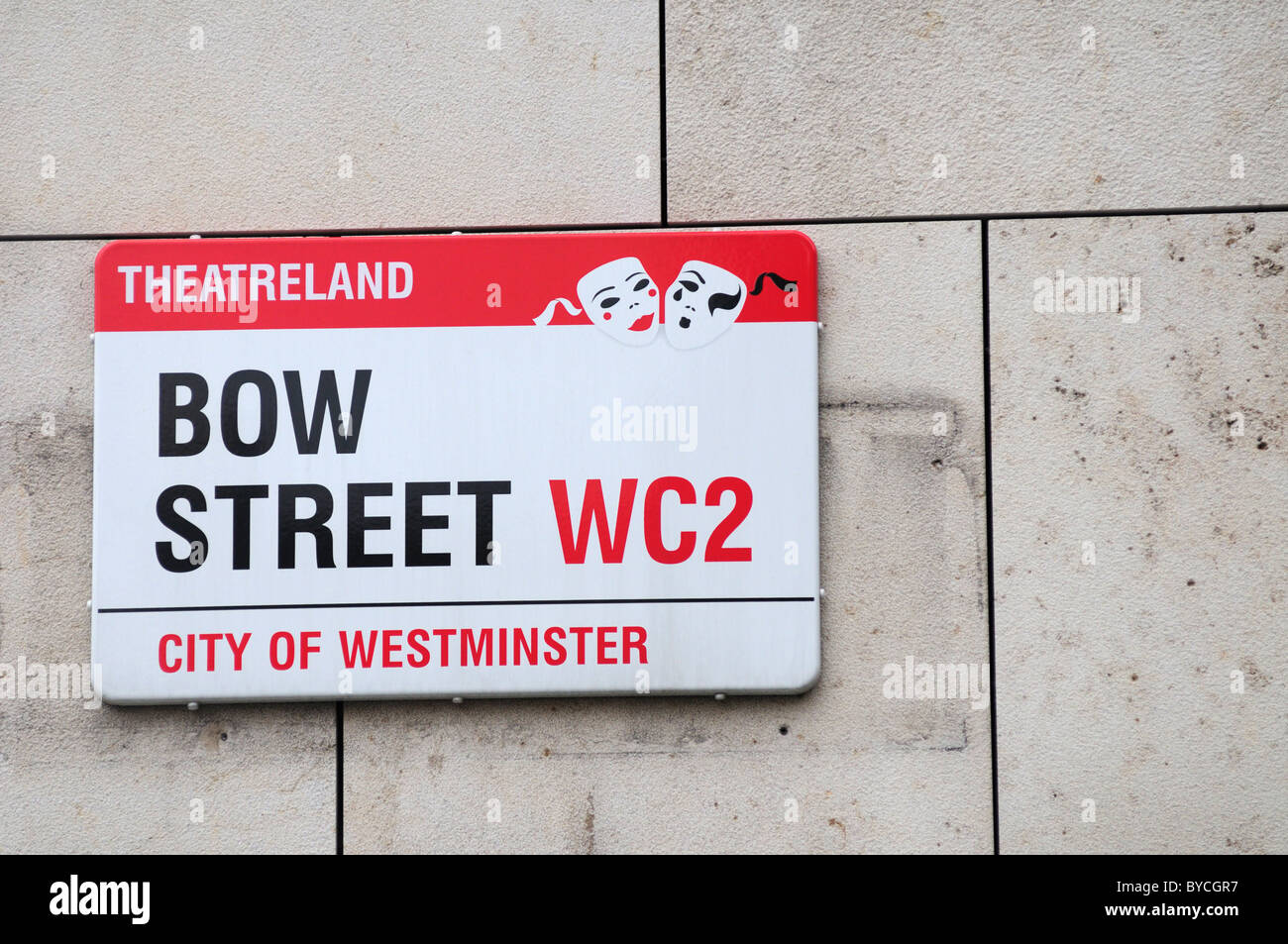 Bow Street theatreland Street sign, London, England, UK - Stock Image