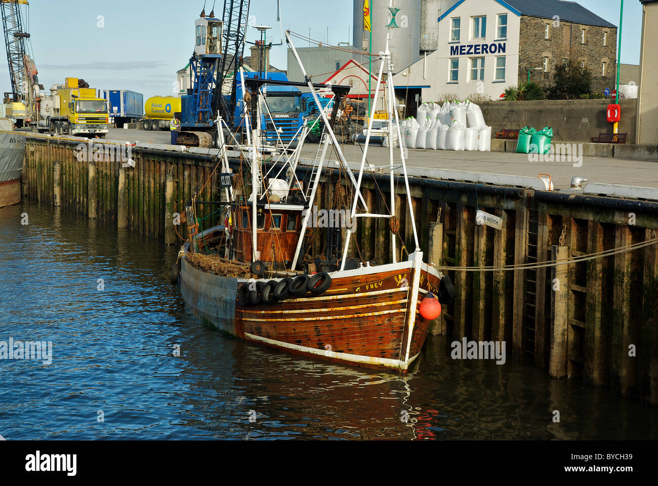Fishing boat Frey CT137 at Ramsey Harbour, Isle of Man - Stock Image