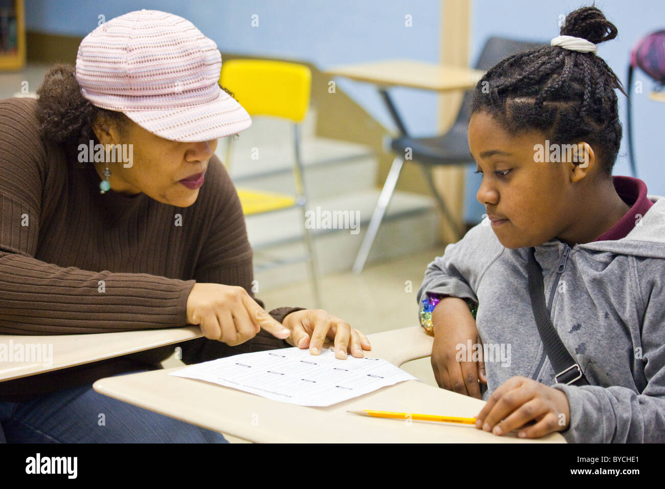 Student and teacher in a classroom in Washington DC - Stock Image