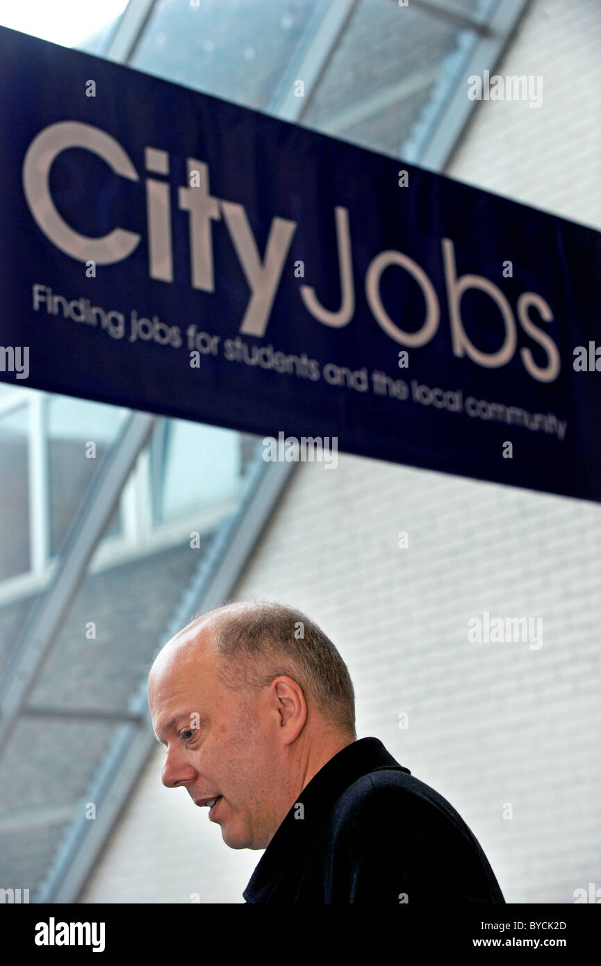 MP Chris Grayling during a visit to Brighton's City College - Stock Image