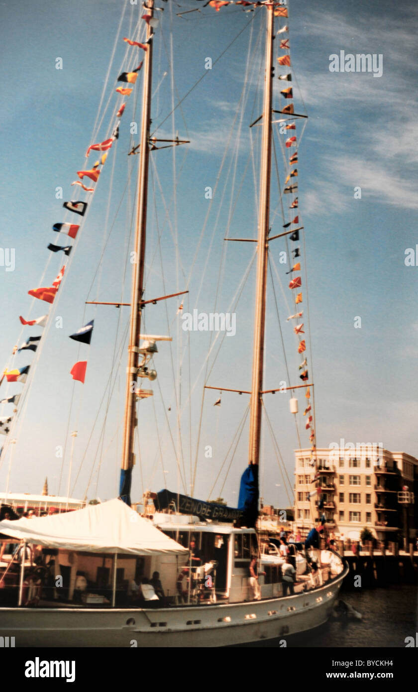 Signal flags displayed on sailing ship during visit of tall ships to Charleston, SC harbor Stock Photo