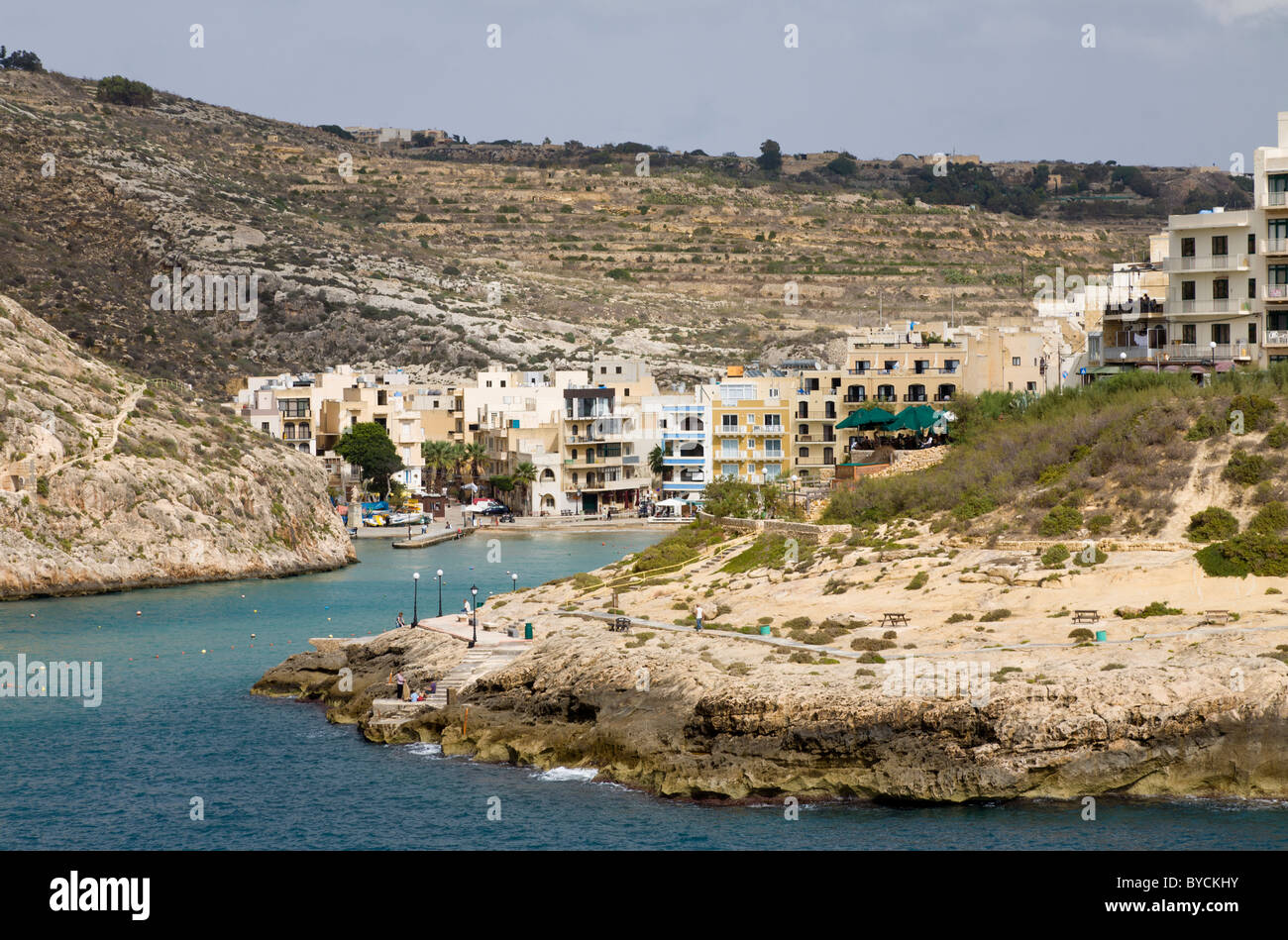 The Gozo island resort of Xlendi. Popular with tourists. Malta, EU. Stock Photo