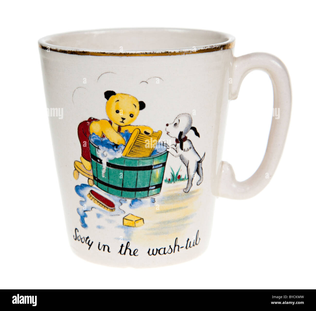 Sooty and sweep children's china teacup antique titled Sooty in the Wash-tub early 1960s UK - Stock Image