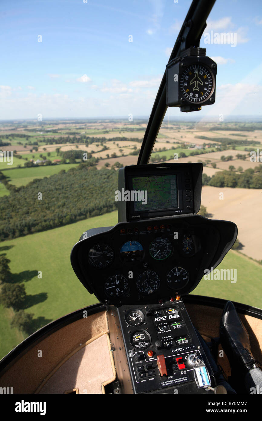 View from cockpit of R22 robinson helicopter - Stock Image