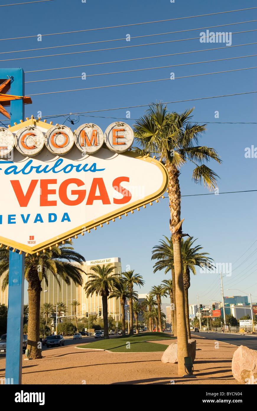 Welcome to Fabulous Las Vegas Sign Nevada USA - Stock Image