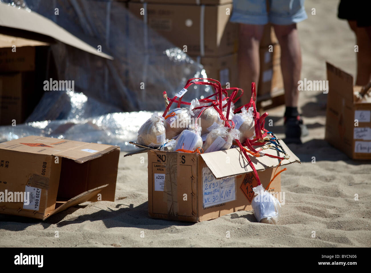 Carton box full of firework bombs ready to be put into their cannons to be shot in the sky the 14 July in St Tropez. Stock Photo