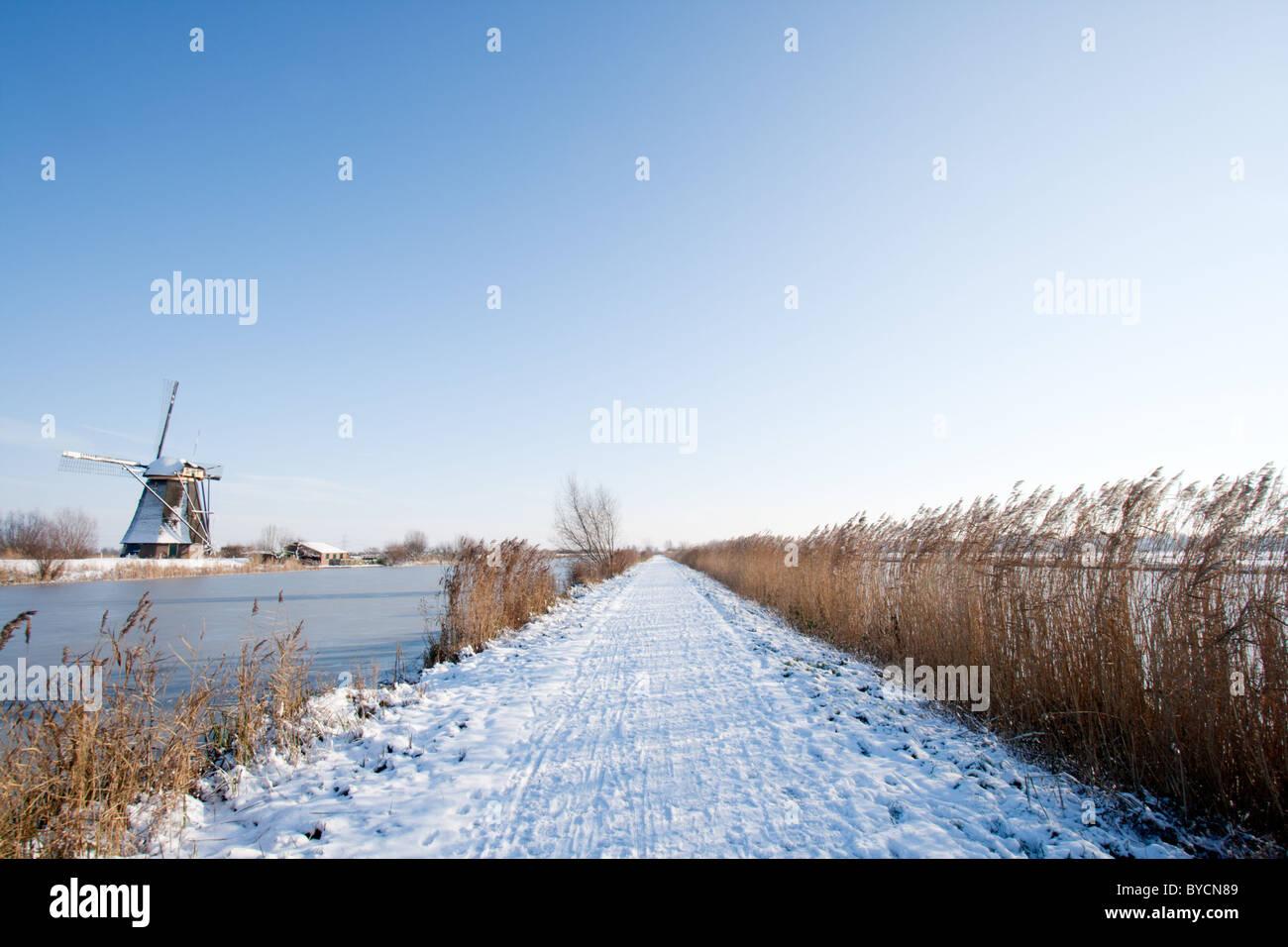 Path along the windmills in Kinderdijk. Holland Stock Photo