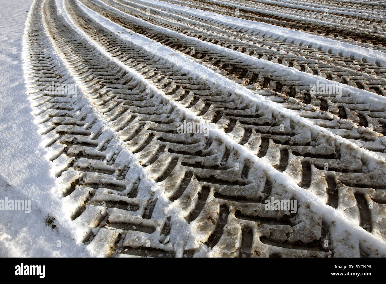 Tyre tracks in the snow - Stock Image
