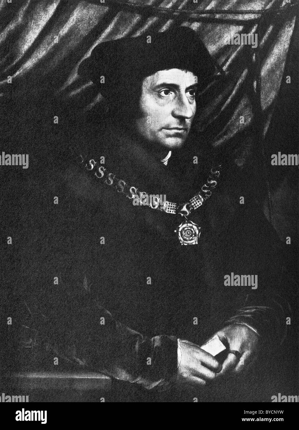 Portrait painting of English author + statesman Sir Thomas More (1478 - 1535) by Hans Holbein the Younger (c1497 - Stock Image