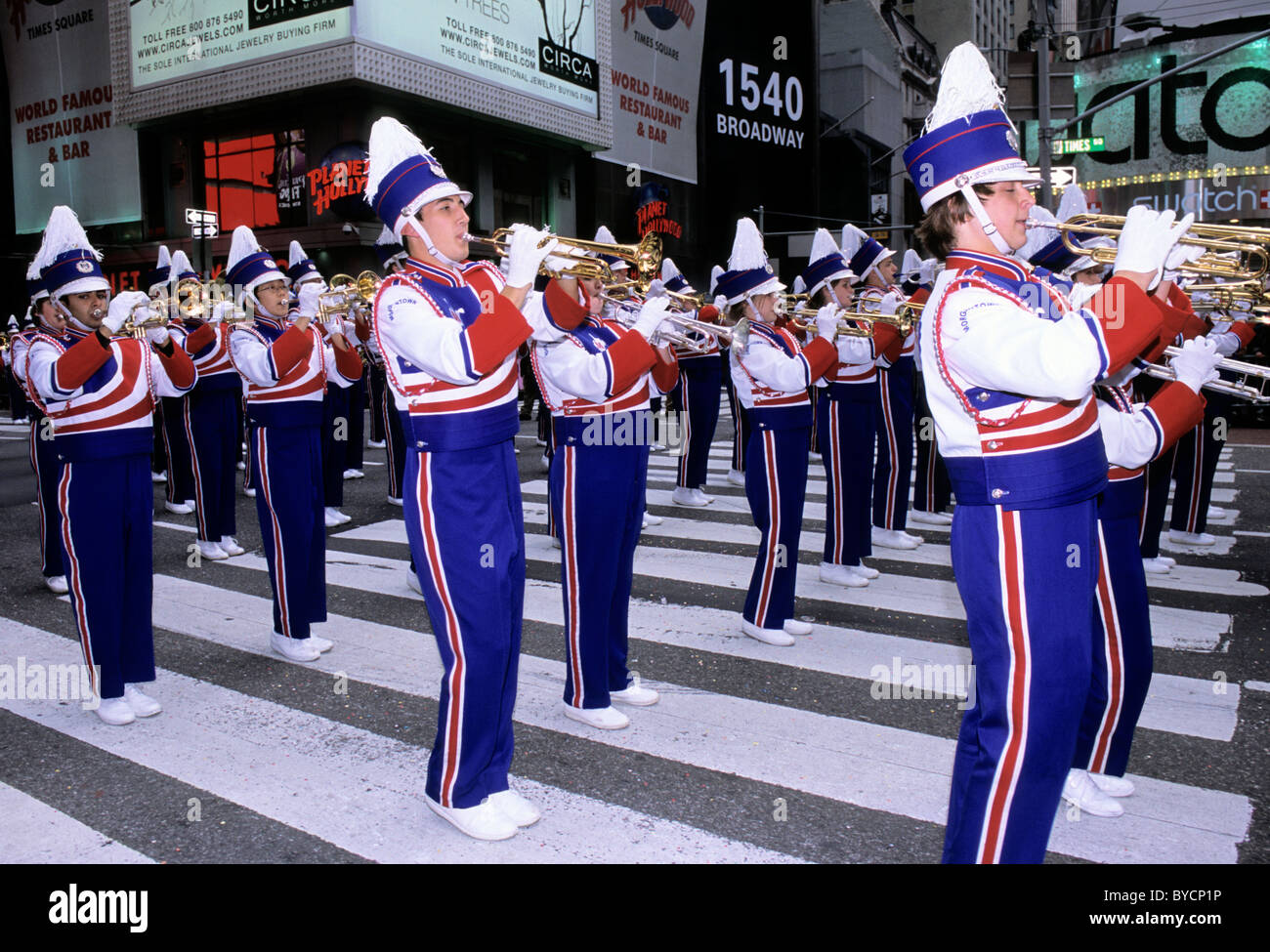 USA New York City Trumpet Players Thanksgiving Macy's Parade Marching Band - Stock Image